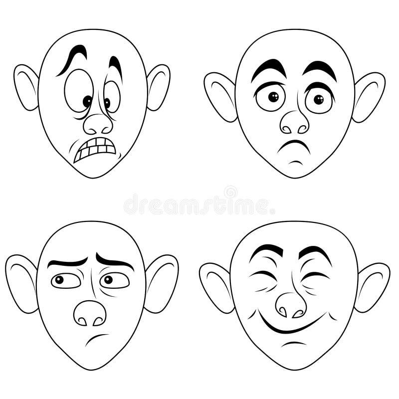 Placez de quatre grimaces masculines illustration libre de droits