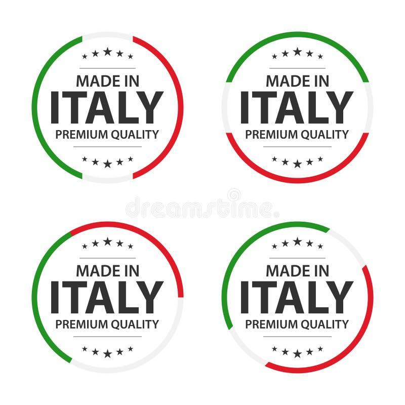 Placez de quatre icônes italiennes, de titre anglais fabriqué en Italie, d'autocollants de la meilleure qualité de qualité et de  illustration stock