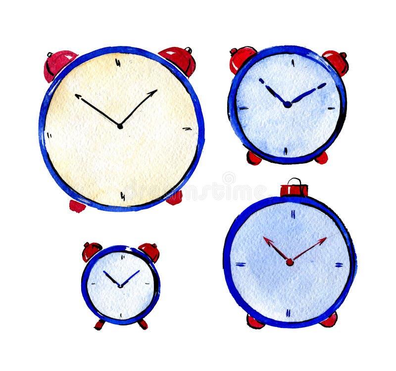 Placez de quatre montres et alarmes rondes Illustration de Waterolor images stock