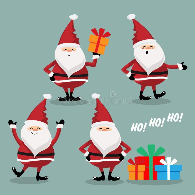 Placez de Santa Claus mignonne d'isolement sur le fond vert Personnage de dessin anim? mignon illustration de vecteur