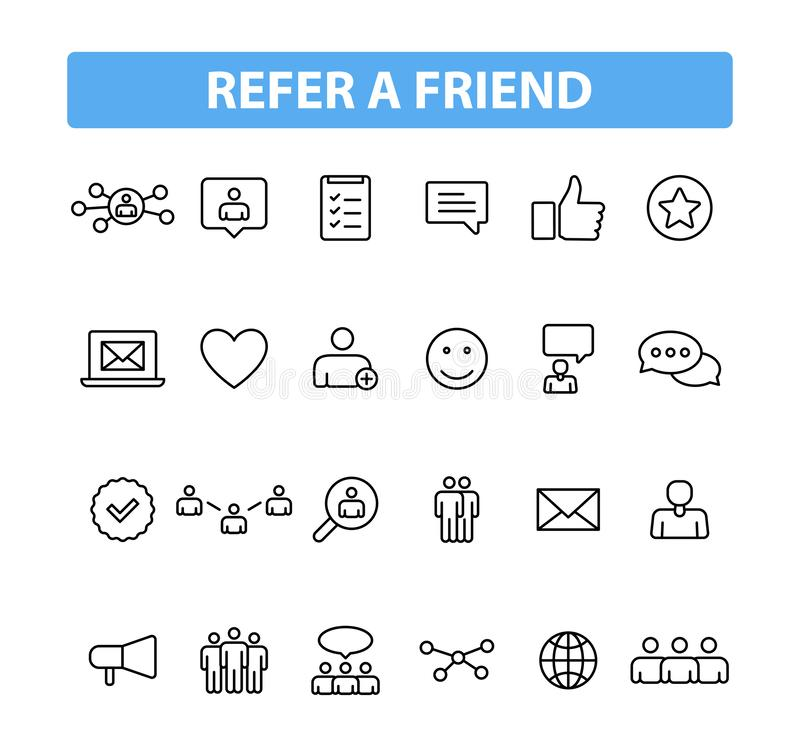 Placez de 24 se réfèrent des icônes d'un Web d'ami dans la ligne style Le programme de référence, vente, invitent des amis Illust illustration libre de droits