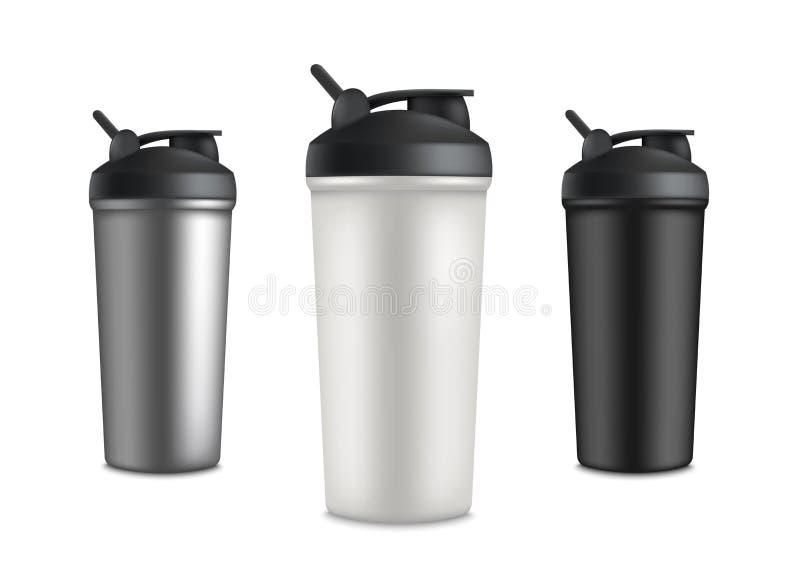 Placez de trois bouteilles de tasse de sport pour la boisson de secousse de l'eau ou de protéine illustration libre de droits