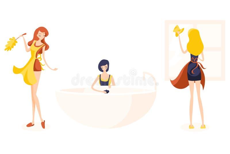 Placez de trois décapants mignons de fille Le saupoudrage de Readhead, blonde lave la fenêtre et la brune lave un bain avec un ba illustration stock