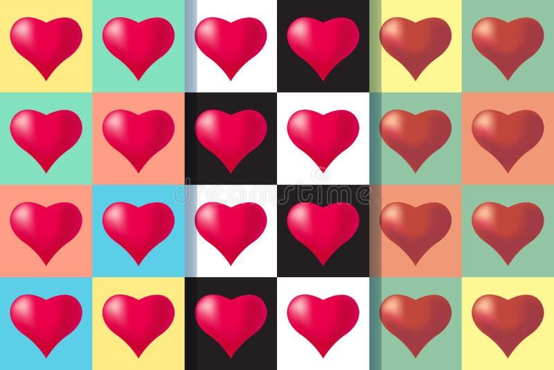 Placez de trois modèles sans couture avec des coeurs, illustration colorée Typographie de vacances de jour de valentines illustration de vecteur
