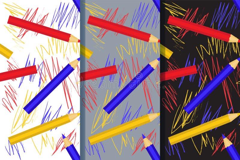 Placez de trois modèles sans couture avec avec le dessin coloré de crayons et d'enfants Vecteur eps10 images stock