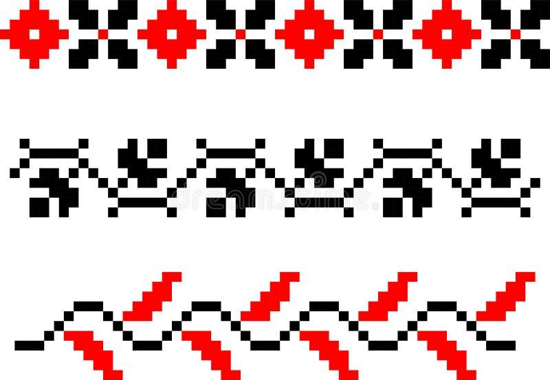 Placez de trois motifs folkloriques traditionnels roumains illustration stock