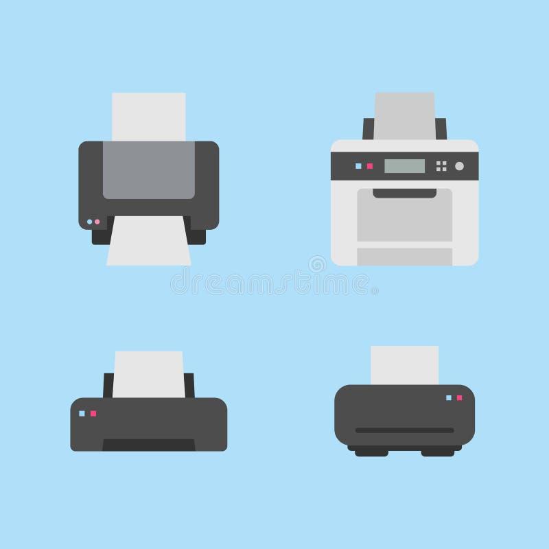 Placez de 4 variations plates d'icône d'imprimante sur le fond bleu illustration de vecteur