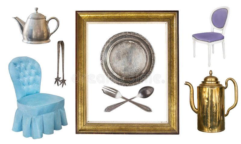 Placez de 9 vieux articles magnifiques de cru Vieux plats, appareils, bouilloires, chaises, livres, chandeliers, cadres de tablea images libres de droits