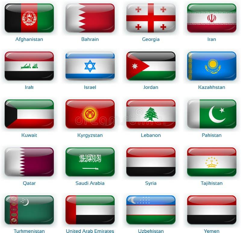 Placez de vingt drapeaux dans le style de bouton L'Asie occidentale illustration stock