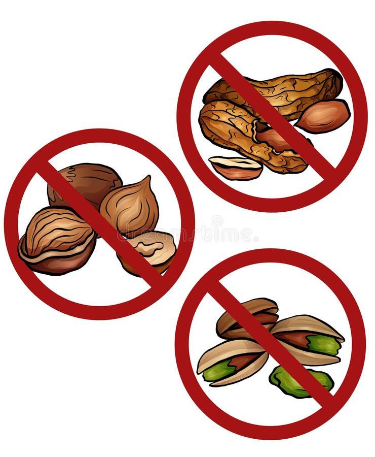 Placez des écrous de bande dessinée dans le signe d'interdiction Libérez des écrous Interdiction des allergènes Alerte d'allergie illustration de vecteur