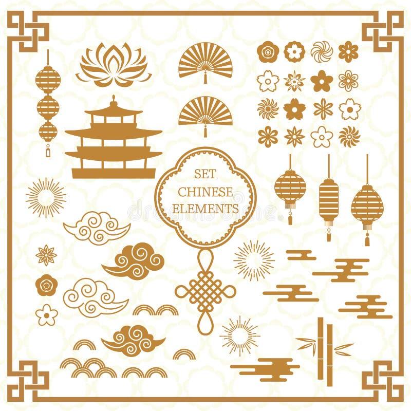 Placez des éléments asiatiques de décoration pour le calibre chinois de bannière illustration plate de vecteur sur le fond illustration libre de droits