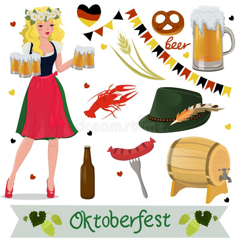 Placez des éléments de conception d'Oktoberfest de vecteur Illustration d'isolement par vecteur illustration stock