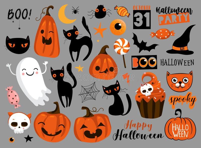 Placez des éléments heureux de conception de Halloween Logos de Halloween, insignes, labels, icônes, objets ?cran protecteur illustration de vecteur