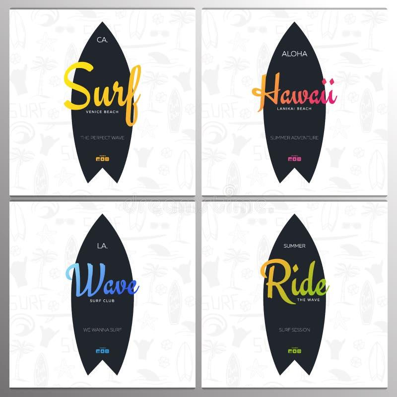 Placez des affiches surfantes d'été pour le club ou le magasin de ressac avec le fond et la planche de surf d'aspiration de main illustration libre de droits