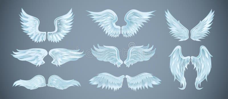 Placez des ailes d'ange avec différentes formes Illustration de vecteur illustration de vecteur