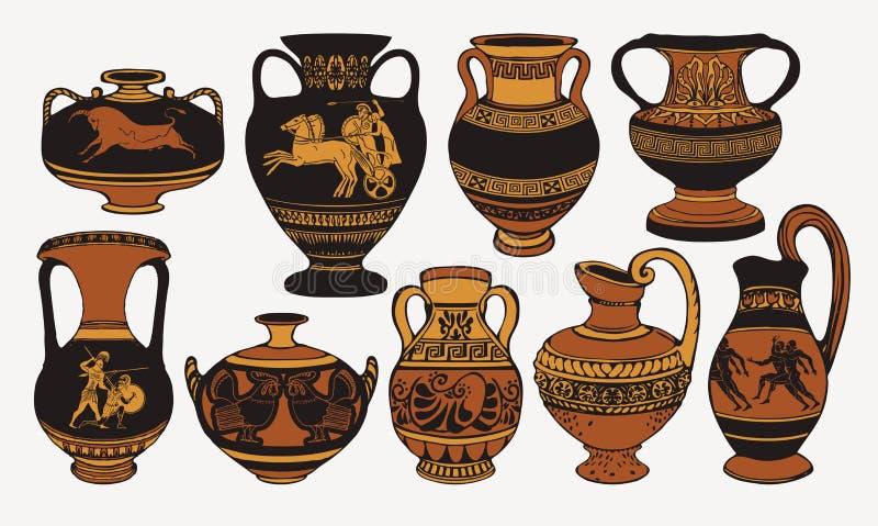 Placez des amphorae grecs antiques avec des décorations illustration libre de droits