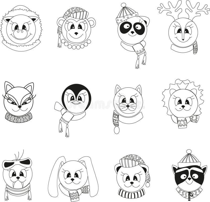 Placez des animaux noirs et blancs d'isolement de bande dessinée dans des vêtements d'hiver illustration libre de droits