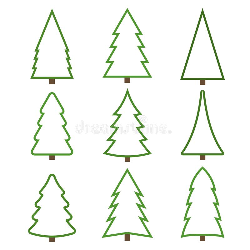Placez des arbres de Noël de découpe sur un fond blanc illustration libre de droits
