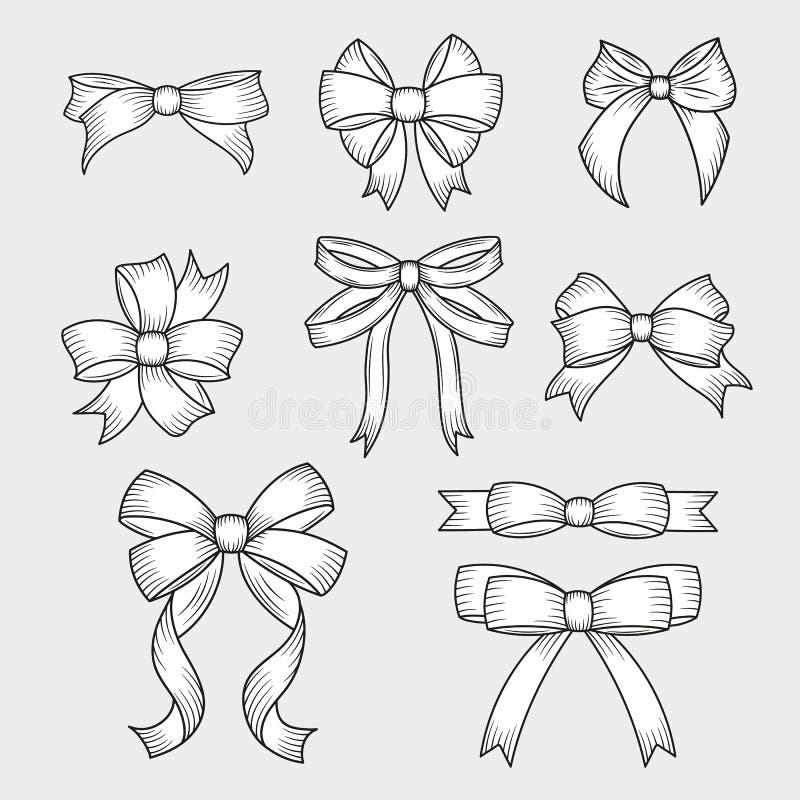 Placez des arcs décoratifs tirés par la main Décoration pour des vacances traditionnelles et des boîte-cadeau Illustration de vec illustration de vecteur