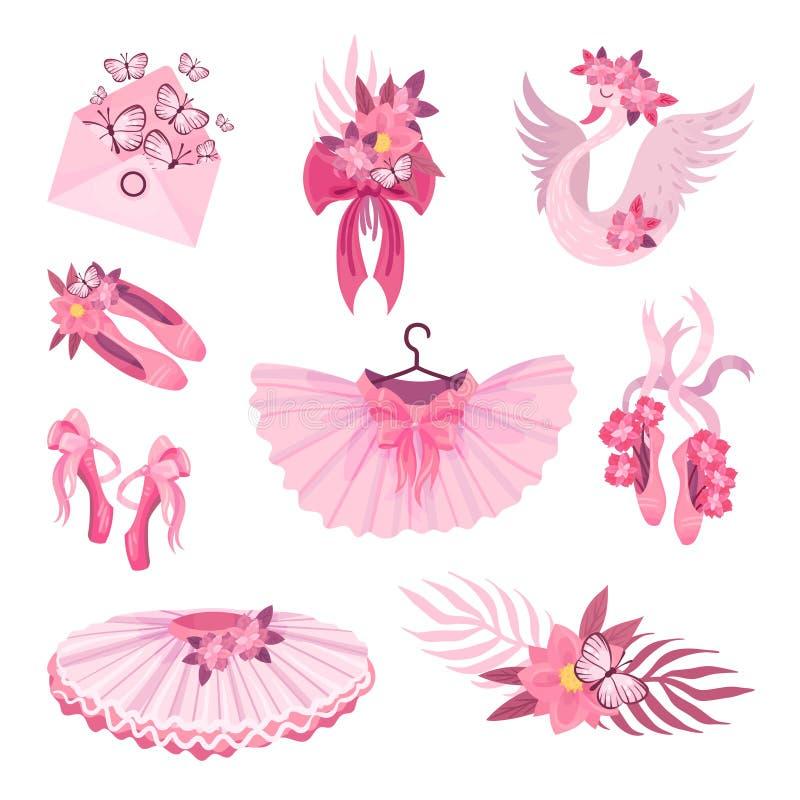 Placez des articles roses sur le thème du ballet Illustration de vecteur illustration stock
