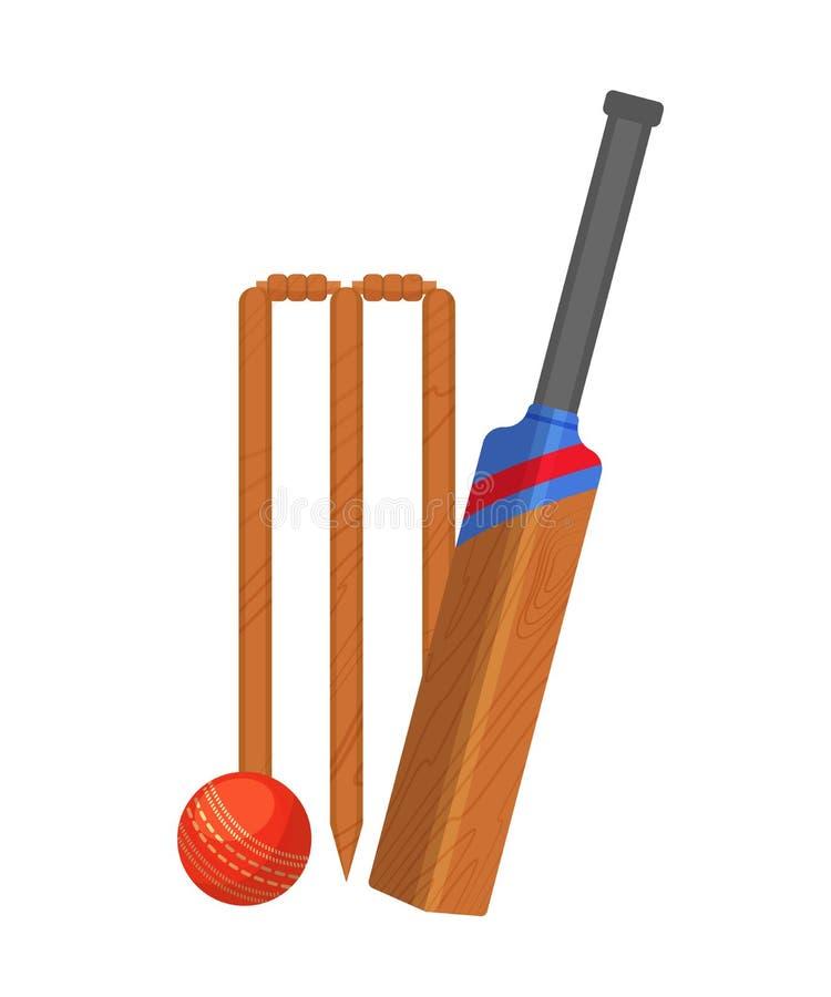 Placez des attributs pour le cricket Porte en bois de cricket, batte, boule illustration stock