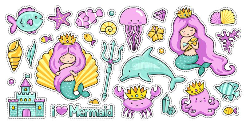 Placez Des Autocollants De Bande Dessine De Mer De Kawaii