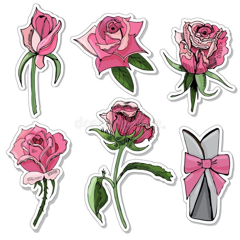Placez des autocollants de couleur se développante s'est levé les fleurs, l'arc et le cadre Croquis tiré par la main d'encre sur  illustration de vecteur
