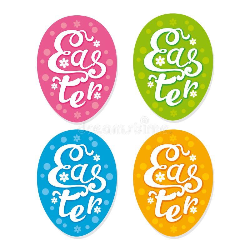 Placez des autocollants de Pâques de vecteur illustration stock