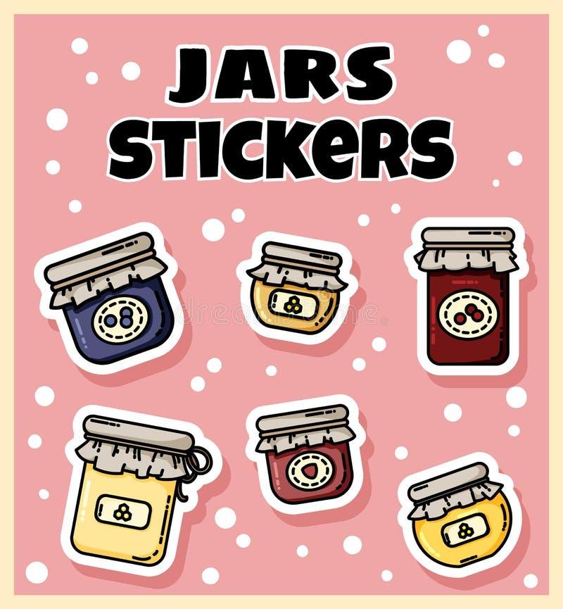 Placez des autocollants de pots de confiture Collection de labels colorés plats de style illustration stock