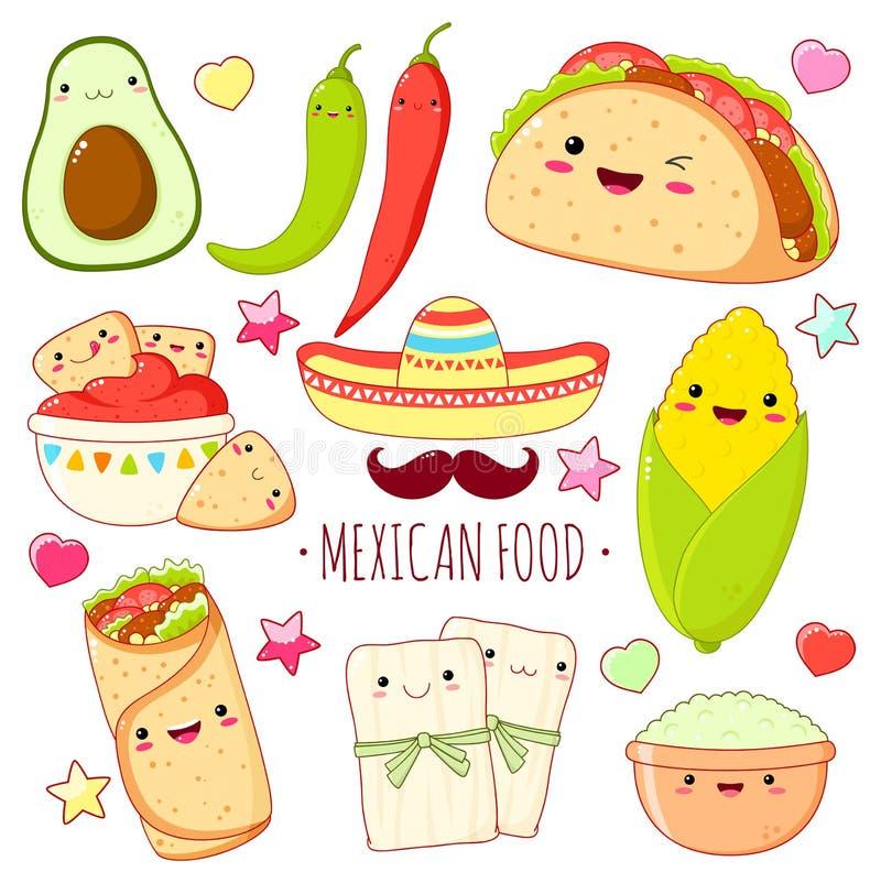 Placez des autocollants mexicains mignons de nourriture dans le style de kawaii illustration de vecteur