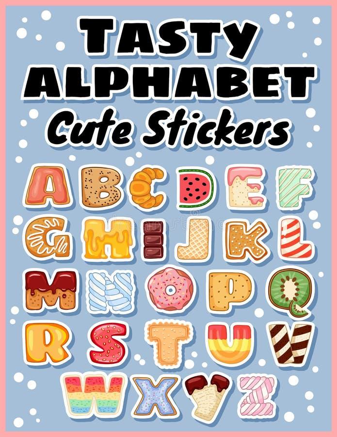 Placez des autocollants savoureux d'alphabet Délicieux, doux, comme des butées toriques, vitrées, chocolat, lettres délicieuses,  illustration stock