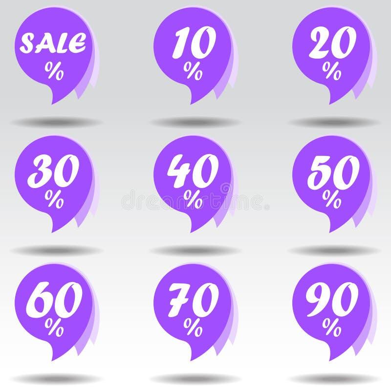 Placez des autocollants violets de vente Conception ultra-violette d'offre spéciale Ventes d'Internet de remise Illustration de v illustration stock