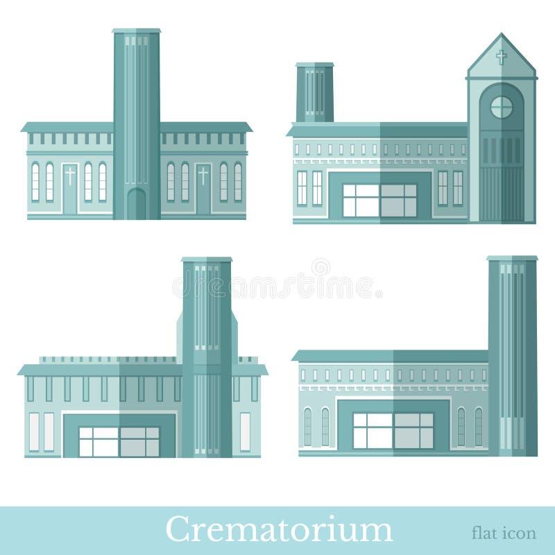 Placez des bâtiments de funérailles plats colorés bleus du style différent de crématorium illustration de vecteur