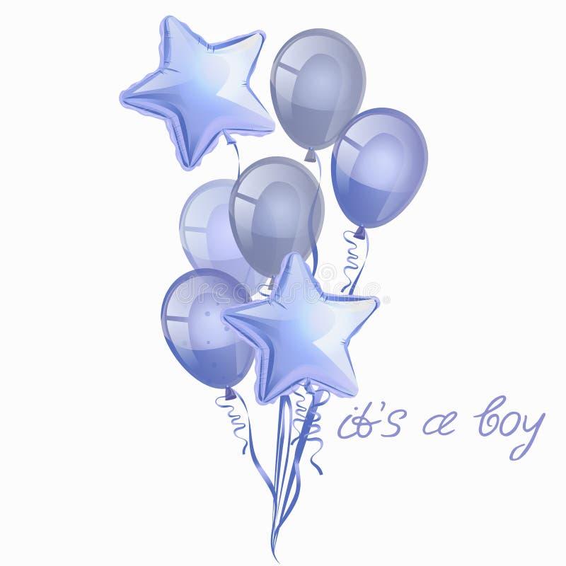 Placez des ballons bleus brillants réalistes d'isolement dans le ciel sur le fond blanc Vecteur pour des cartes de voeux, garçons illustration libre de droits