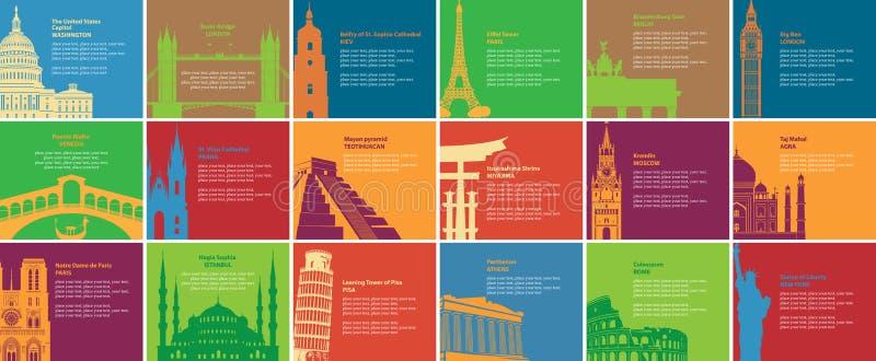 Placez des bannières avec différents sites historiques illustration stock
