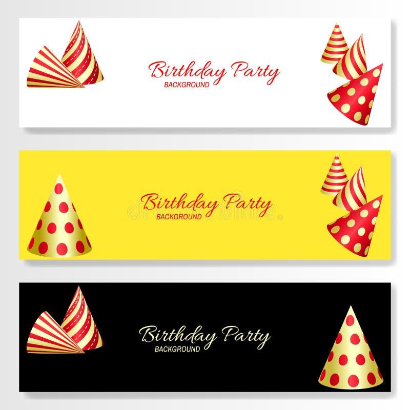Placez des bannières de fête horizontales Chapeaux rouges et d'or de fête d'anniversaire illustration de vecteur