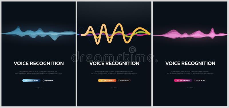 Placez des bannières de système et d'assistant personnel de reconnaissance vocale Biométrie de voix Onde sonore illustration stock