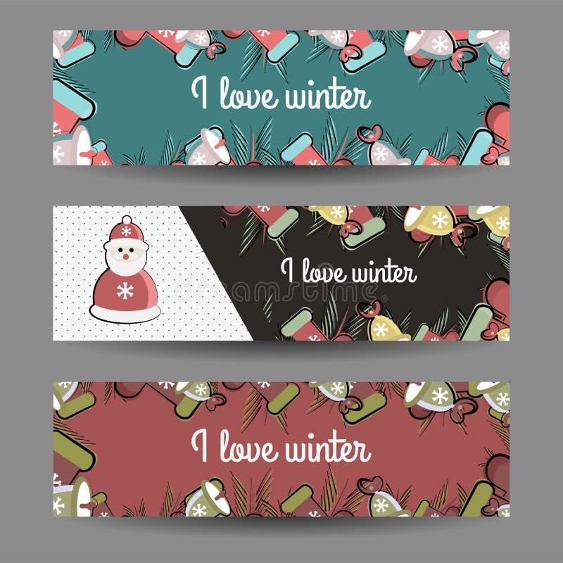 Placez des bannières de vecteur sur le thème d'hiver photographie stock libre de droits