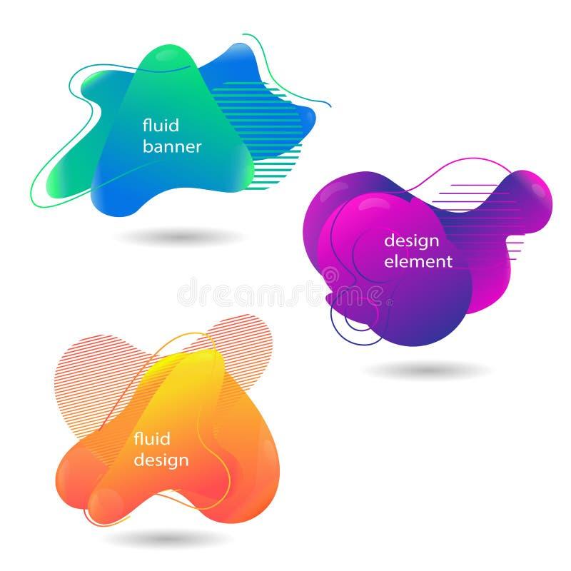 Placez des bannières liquides modernes de résumé Formes géométriques d'abrégé sur gradient avec les éléments liquides d'écoulemen illustration libre de droits