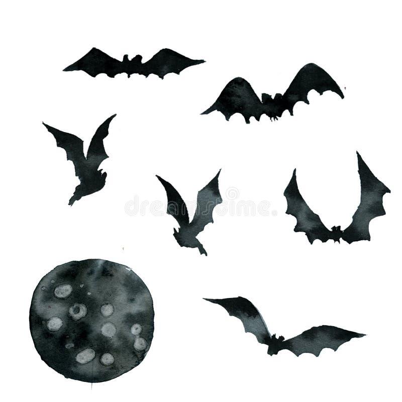 Placez des battes noires dans différentes poses, lune illustration stock