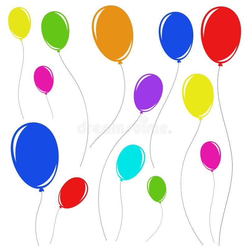 Placez des beaux ballons colorés avec des cordes illustration de vecteur