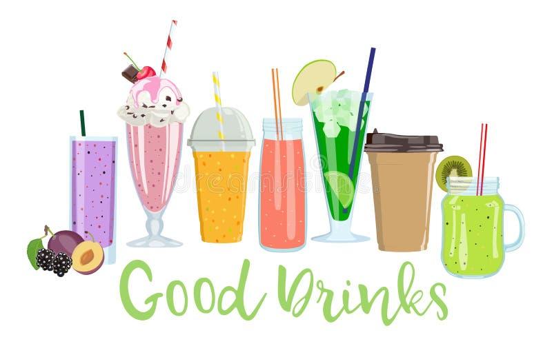 Placez des boissons non alcoolisées d'été Jus, smoothies, café Illustration de vecteur image stock