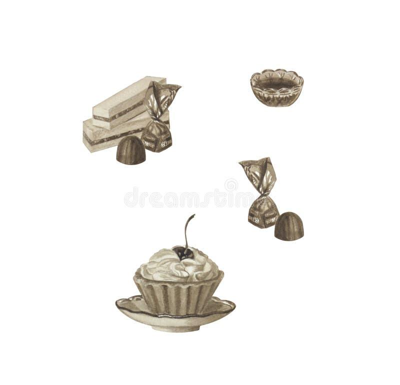 Placez des bonbons dans la couleur de sépia d'isolement sur le blanc Sucrerie, gâteau images libres de droits