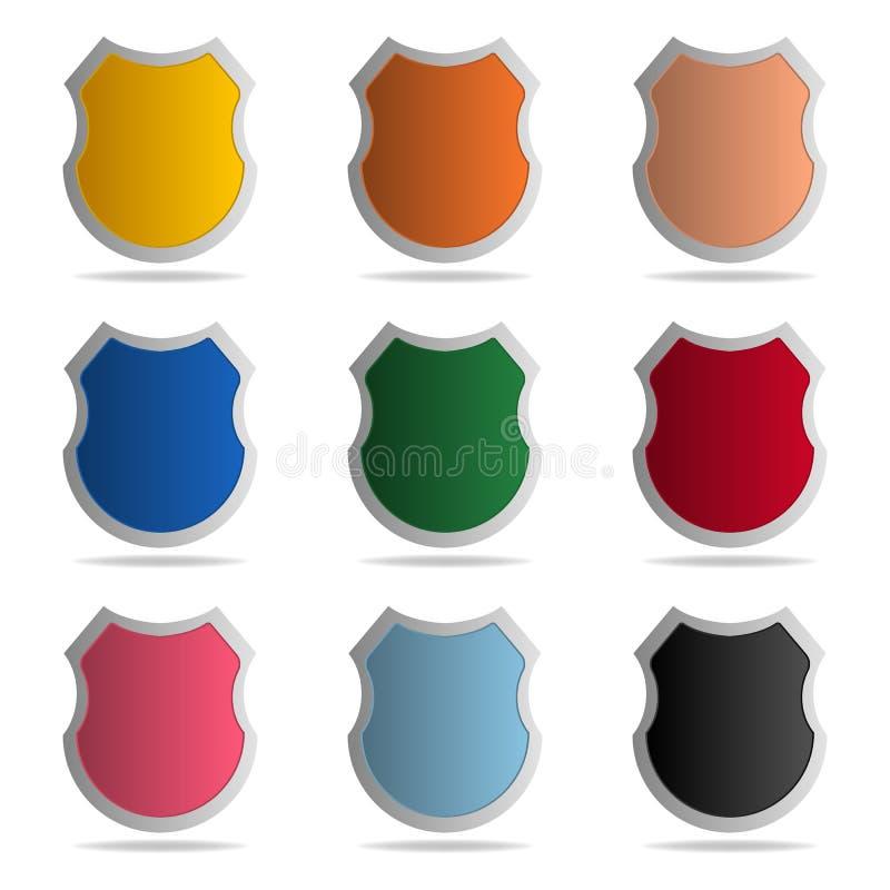 Placez des boucliers colorés sur le fond blanc Graphisme de garantie Icône de protection Illustration de vecteur pour votre eau d illustration de vecteur