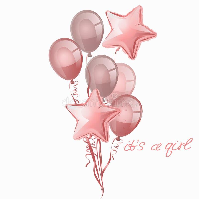 Placez des boules roses brillantes réalistes d'isolement dans le ciel sur un fond blanc Vecteur pour des cartes de voeux, filles, illustration de vecteur