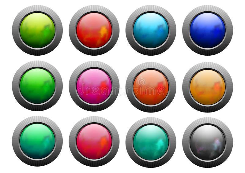 Placez des boutons colorés et brillants Iustration illustration de vecteur