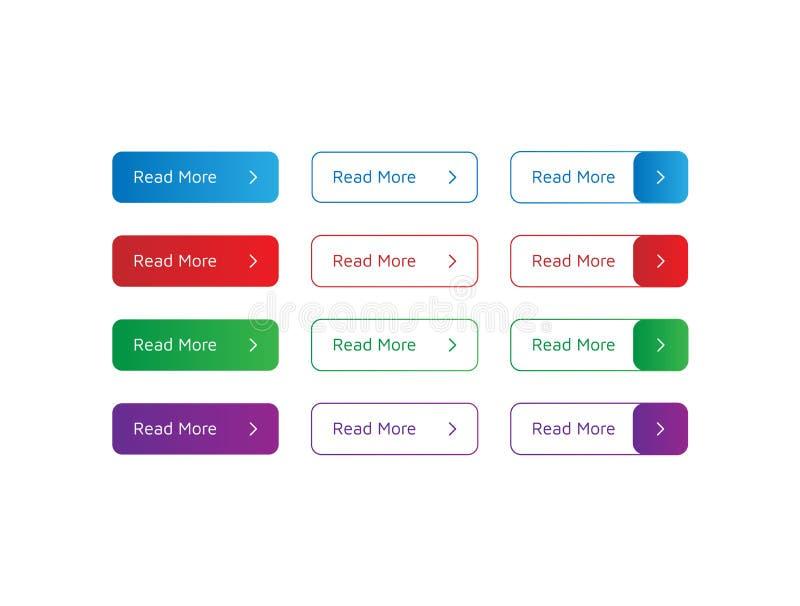 Placez des boutons colorés lus davantage avec la petite flèche Illustration de vecteur sur le fond blanc Boutons rempli et d'ense illustration de vecteur