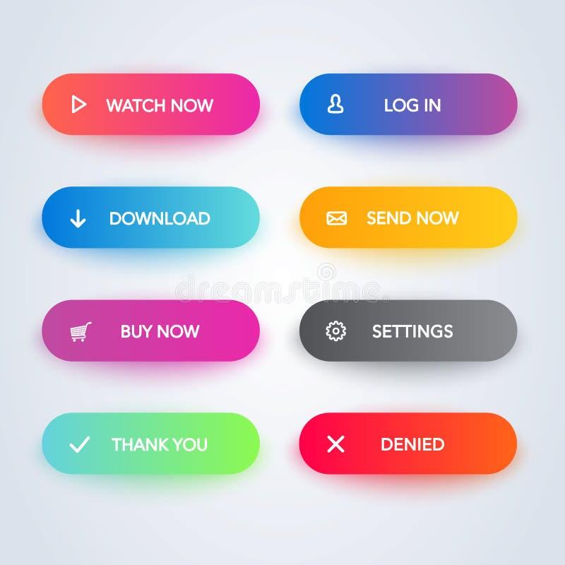 Placez des boutons matériels modernes de style de vecteur Différentes couleurs et icônes de gradient avec des ombres illustration stock