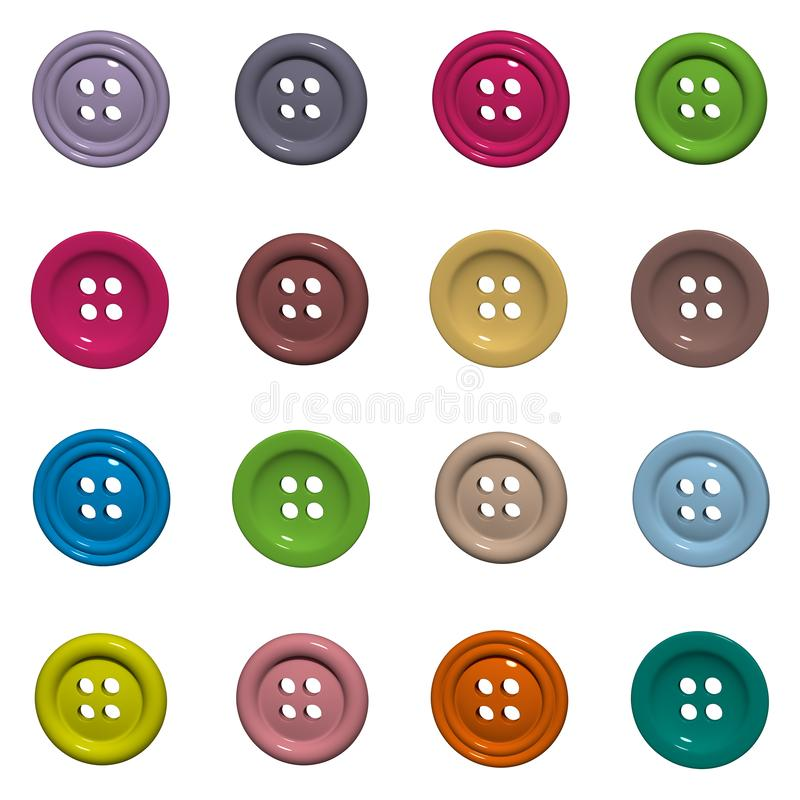 Placez des boutons pour des vêtements dans la moitié tournent d'isolement sur le fond blanc photo stock