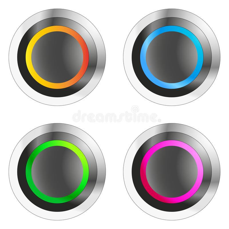 Placez des boutons poussoirs métalliques circulaires avec la lumière colorée - illustration de vecteur illustration libre de droits